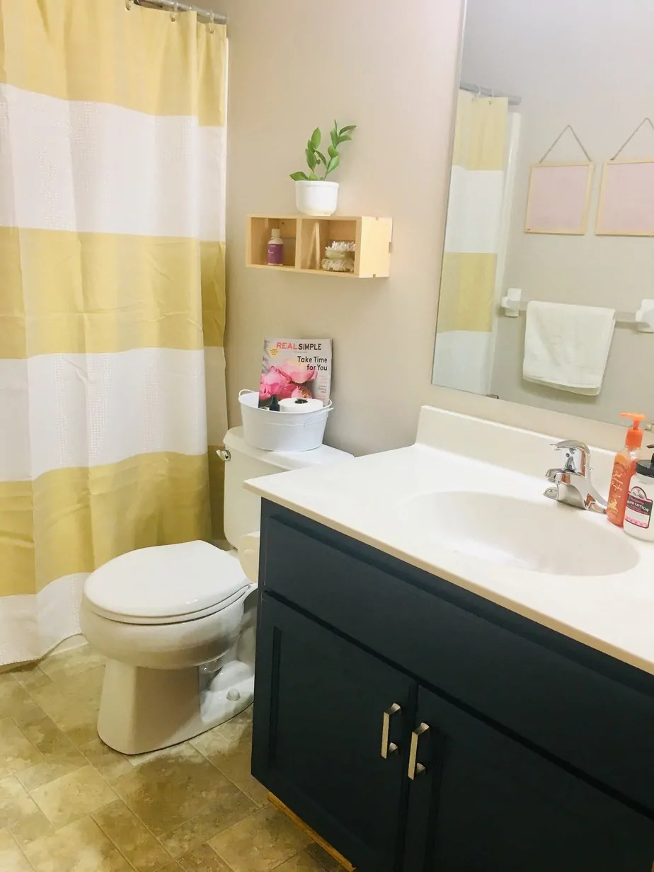 Our small bathroom transformation was amazing and the Rust-Oleum Cabinet Transformation kit was super helpful and budget friendly!