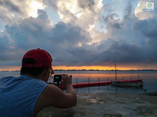The Lucap wharf during sunrise.
