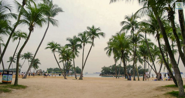 Siloso beach at Sentosa.
