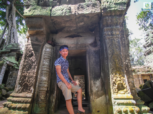 The Fun-sized Traveller at Ta Prohm.
