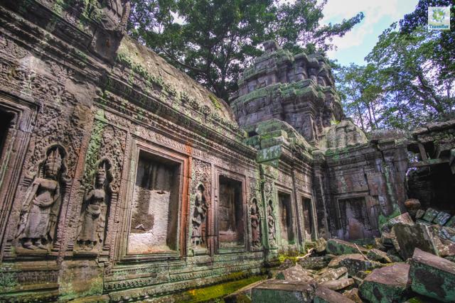The beautiful carvings of Apsara dancers at Preah Khan temple.