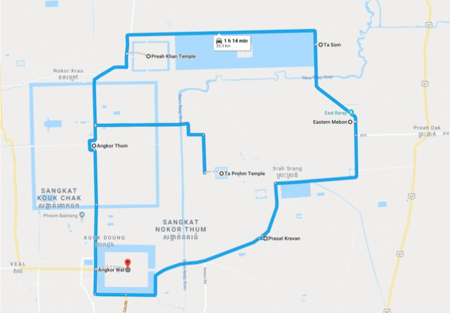 Angkor Temples Map: Here's the full route of the temple itinerary I arranged with my tuk tuk driver covering the most interesting Angkor temples.