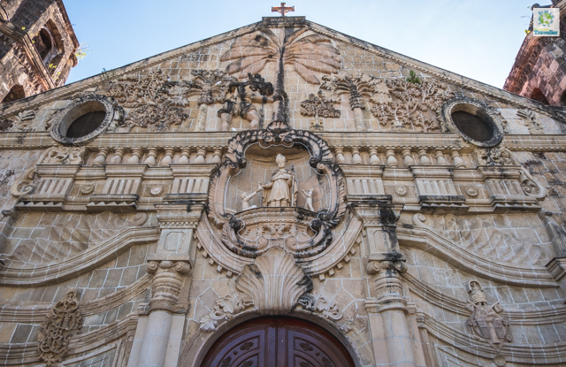 A closer look at Miagao church's facade.