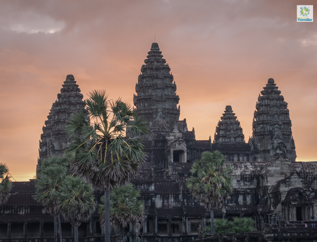 Front gate of Angkor Wat during sunrise.
