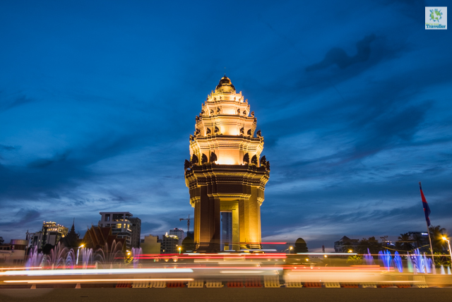 Cambodia Independence Monument at night.