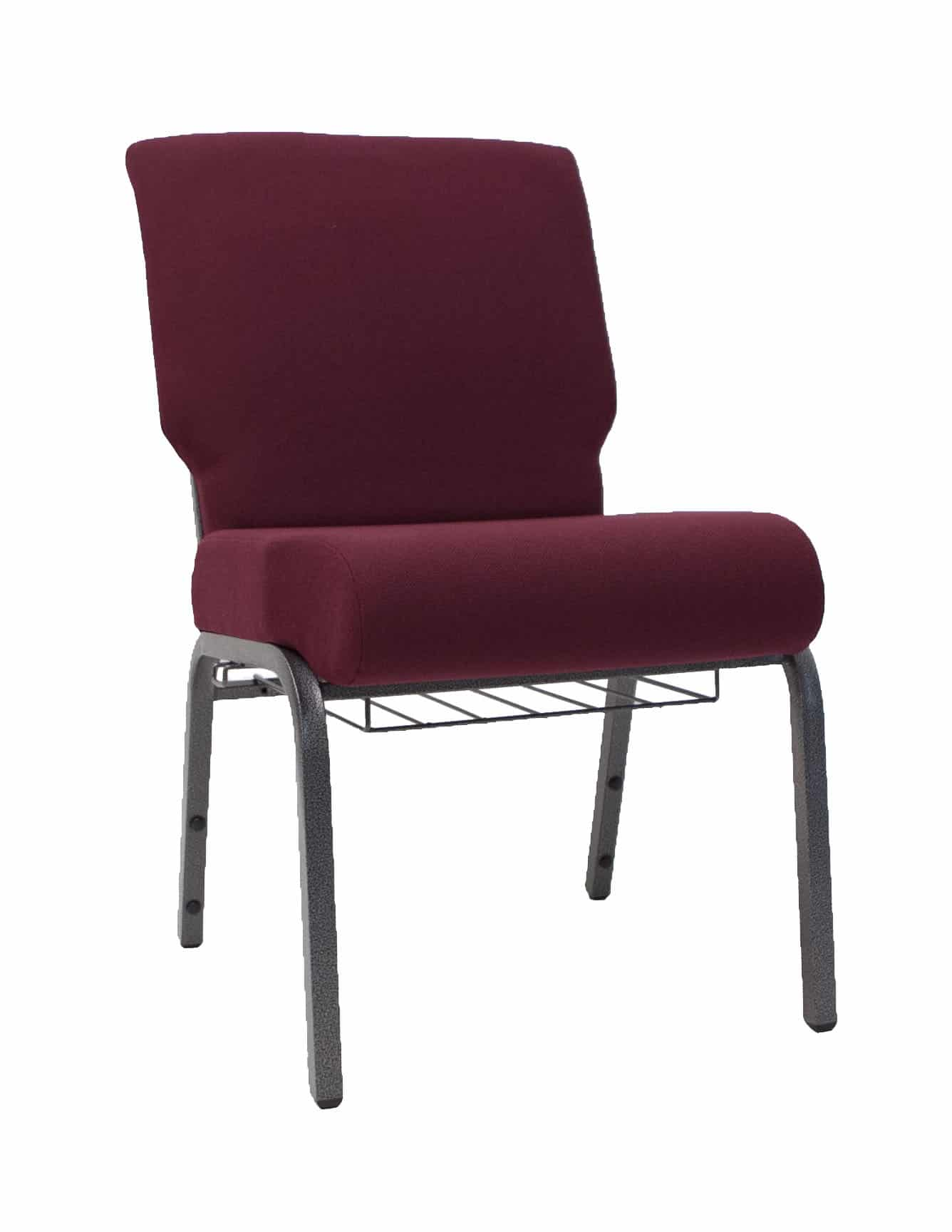 AMCC Maroon 20 Inch Padded Church Chair  The Furniture Family
