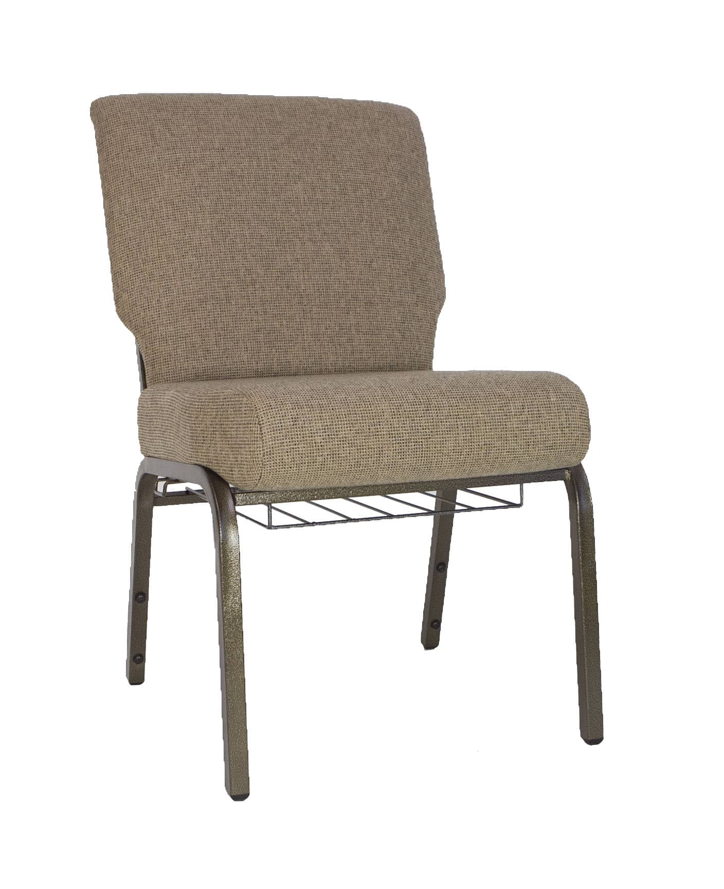 AMCC Mixed Tan 20 Inch Padded Church Chair  The Furniture Family