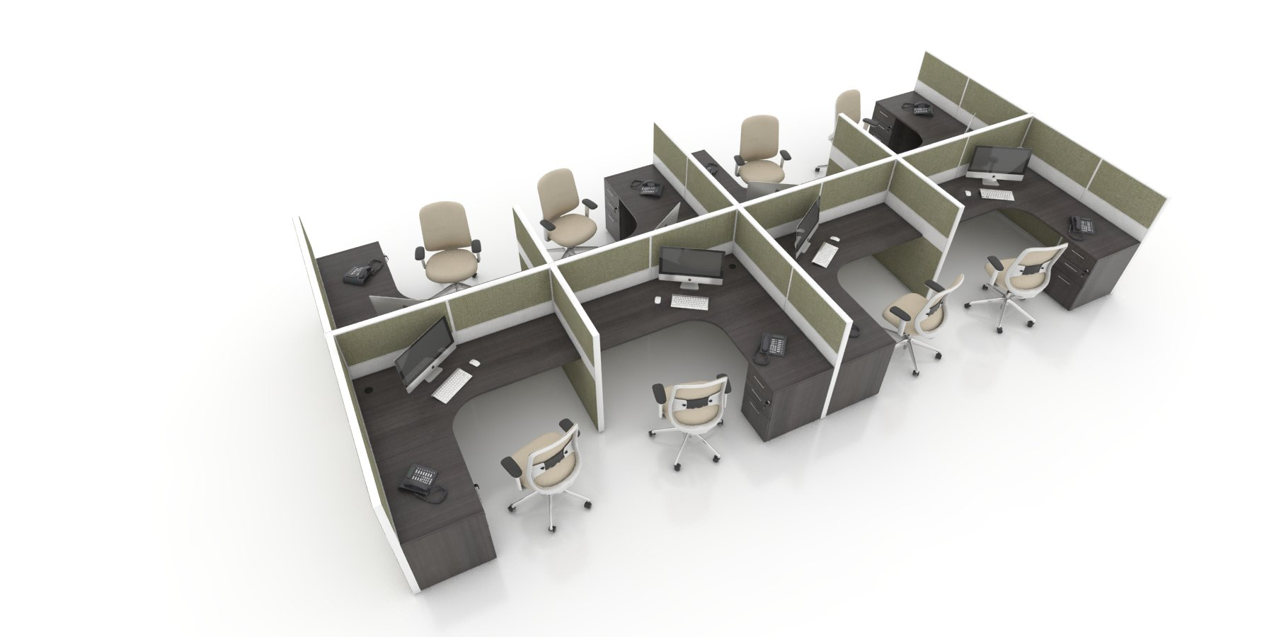Refurbished Cubicle L Shape Workstations With Fabric Panels Tuxedo Laminate Dn66 Olive Fabric The Furniture Guys