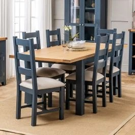 Westbury Blue Painted Extending Dining Table 6 Dining Chairs Set The Furniture Market