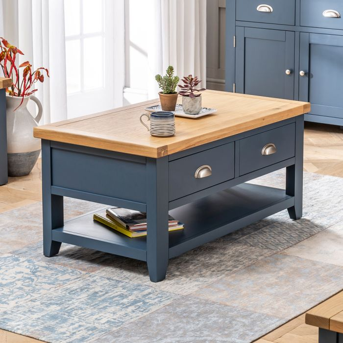 westbury blue painted 2 drawer coffee table with shelf