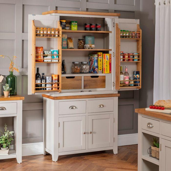 Downton Grey Double Kitchen Larder Pantry Cupboard The Furniture Market