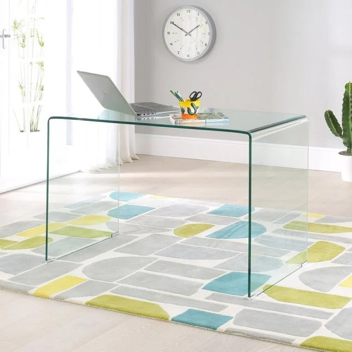 geo glass small clear glass desk