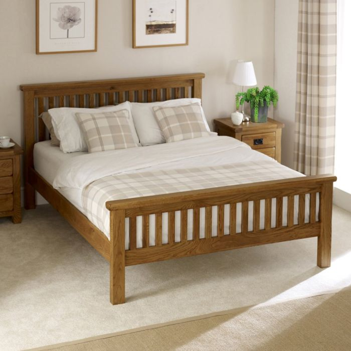 rustic solid oak 5ft king size bed