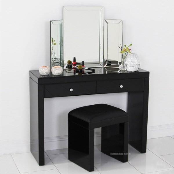 Black Makeup Vanity Table with Mirror