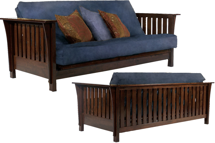Dillon Wall Hugger Futon Frame in Maple Finish
