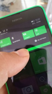 Windows Phone 8.1 features the 'new' pull down notification bar