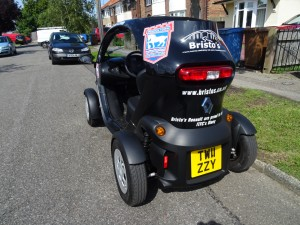 There is no rear windscreen on the Twizy, the side mirrors provide excellent views though