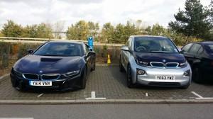BMW i8 alongside the BMW i8