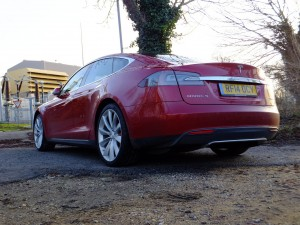 Tesla Model S P85+ pictured at a power station