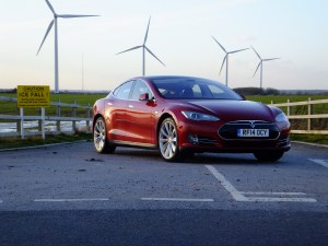 Tesla Model S at Wind Farm