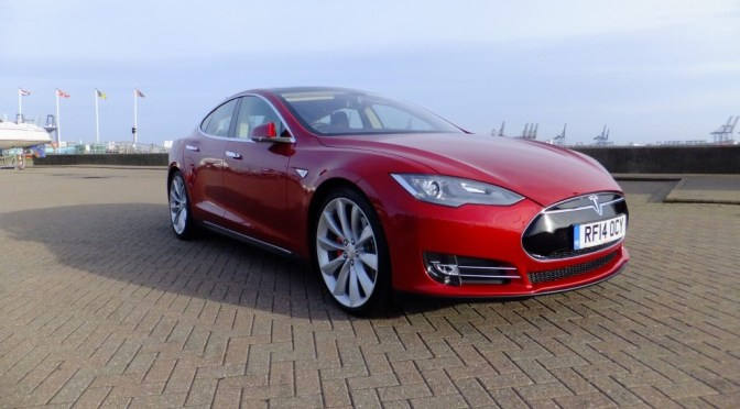 Tesla Model S P85+ at Shotley Gate, near Ipswich