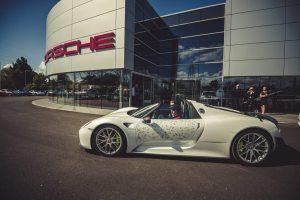 Porsche 918 Spyder Hybrid Hypercar arriving at the Porsche Experience Centre