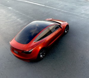 Tesla Model 3 in red