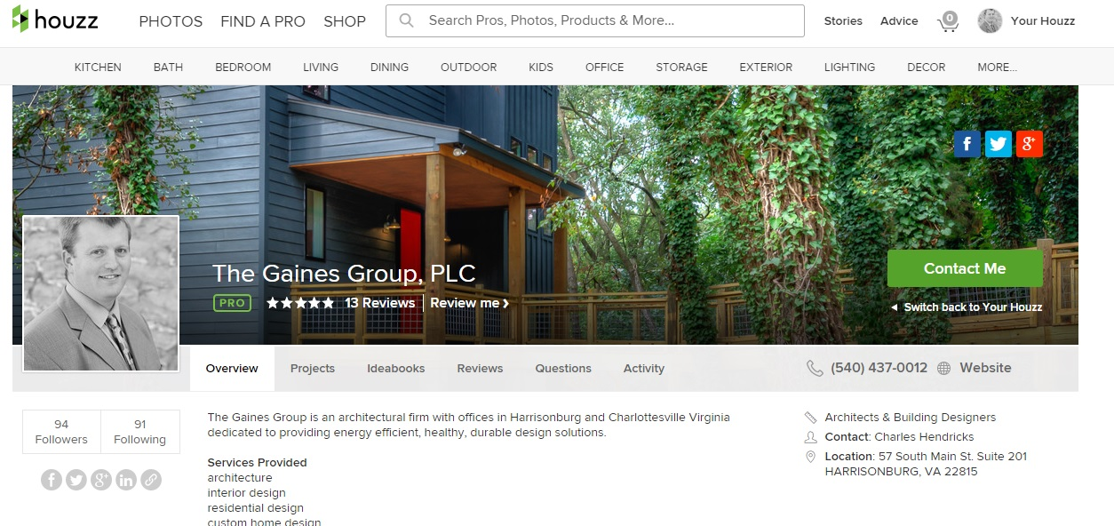 The Gaines Group Architects Harrisonburg Architect Named Best Of Houzz For The Fourth Year In A Row