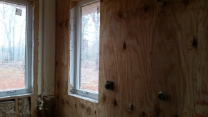 plywood walls in bathroom