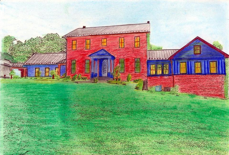 architectural coloring book farmhouse