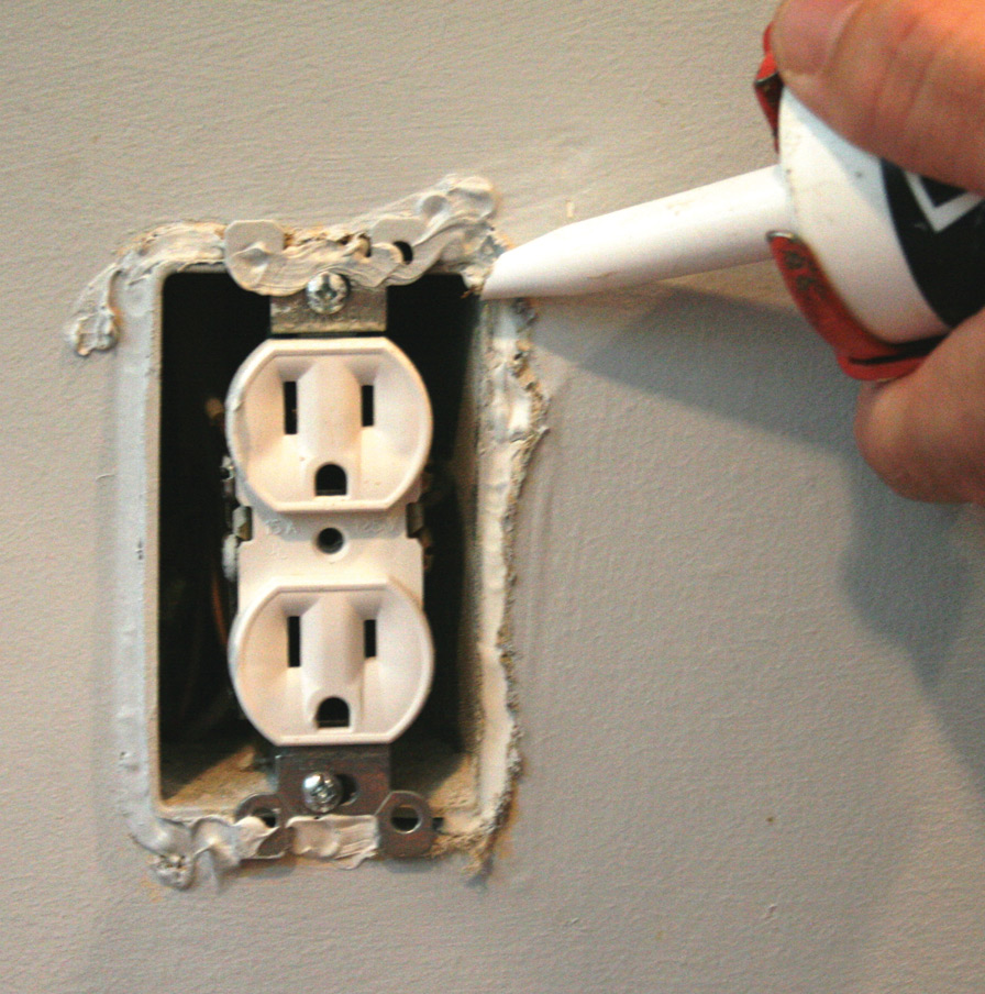 caulk electrical outlets