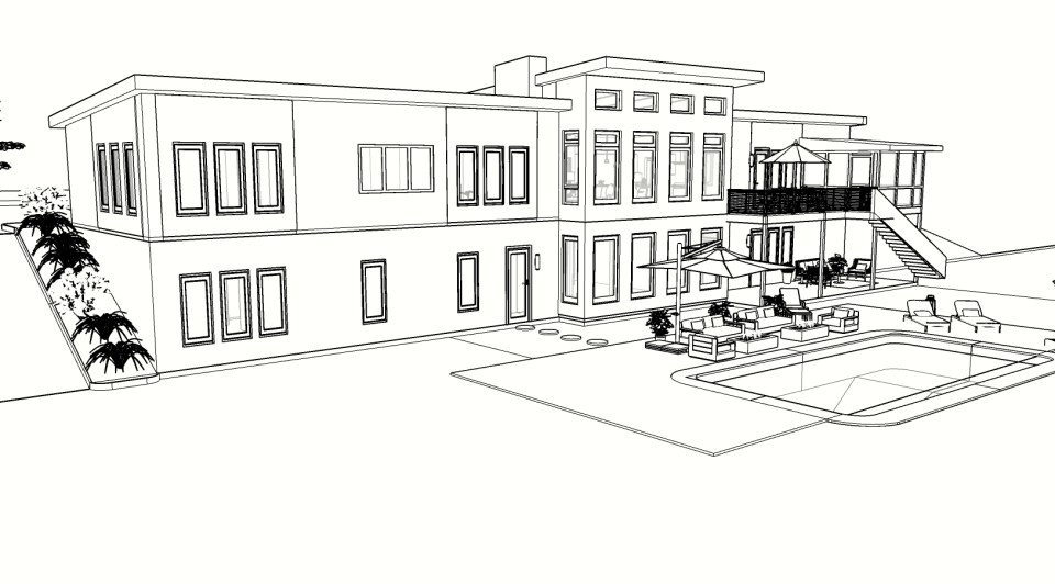 modern house coloring page