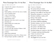 Photo scavenger hunt list