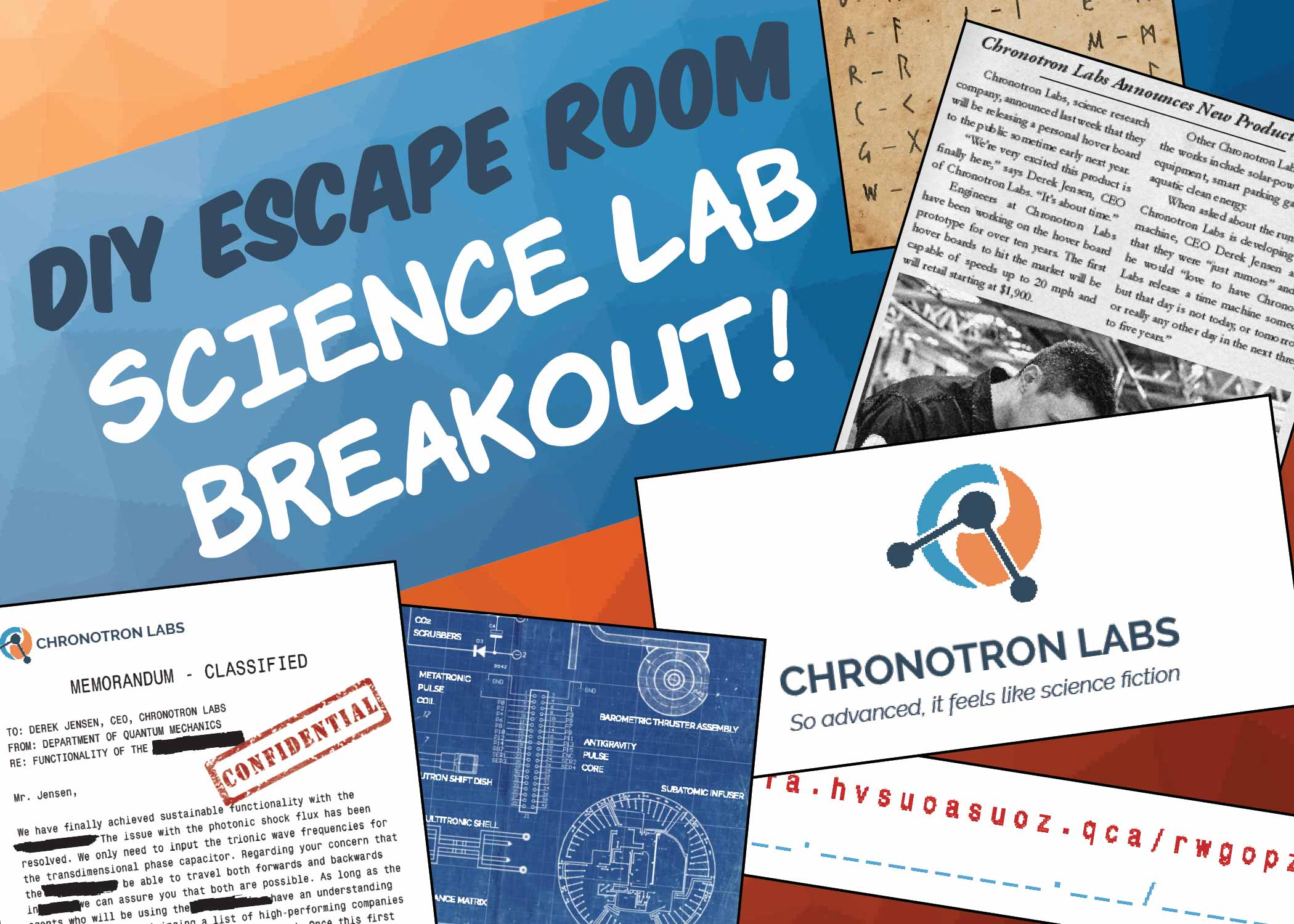 graphic about Free Printable Escape Room Kit named Do it yourself Escape House Package - Science Lab Breakout - The Match Gal