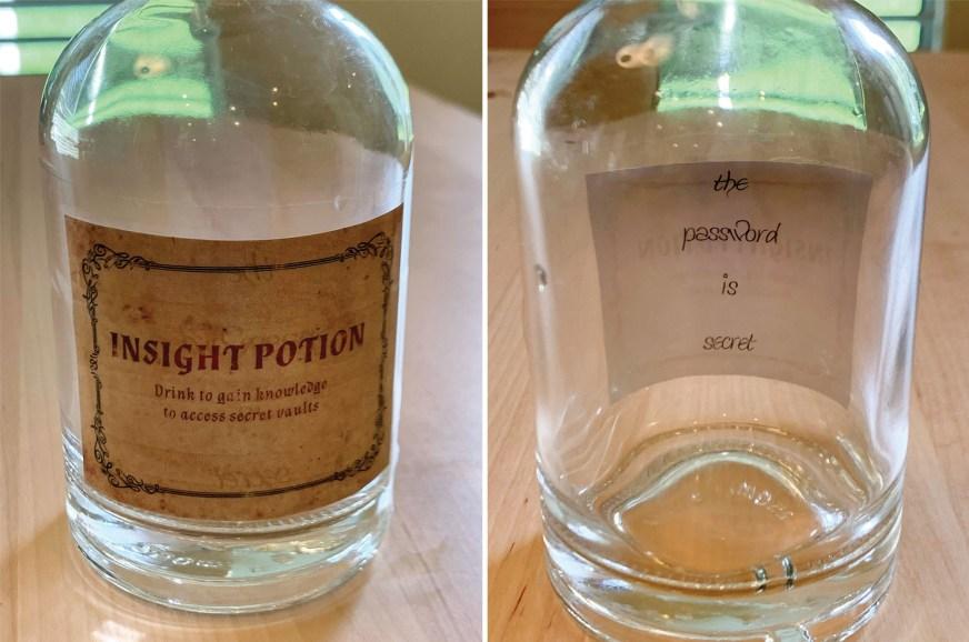 potion bottle clue for diy wizard or harry potter escape room