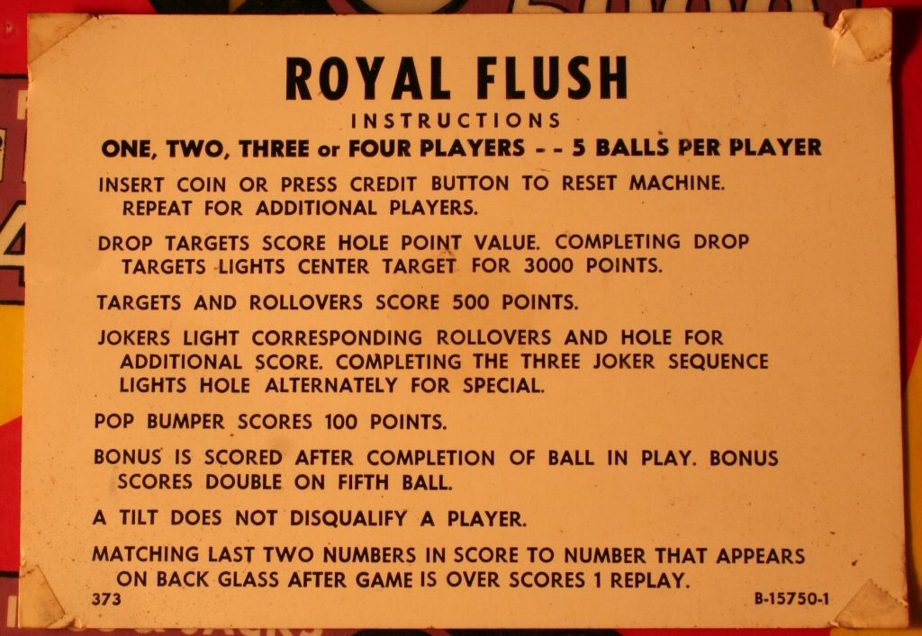 Flush game instructions