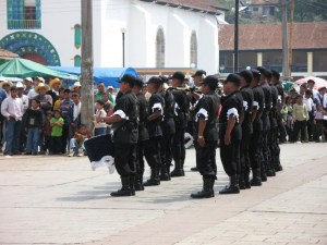 Traditional dress of the menfolk of San Juan Chamula, on parade