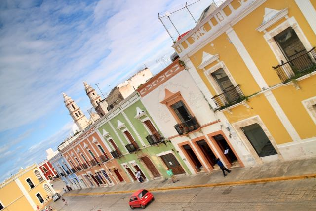 pretty pastel buildings in Campeche