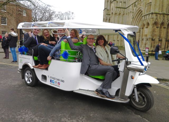 Outside York Minster in a tuk tuk on our wedding day - Julie Sykes 25 experiences I'm going to have before I die - The Gap Year Edit