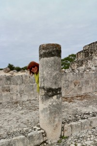 column at Edzna, Campeche, Mexico