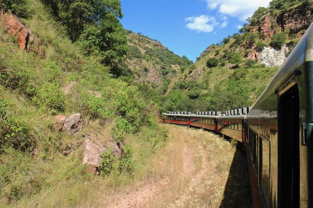 The Copper Canyon train winds through mountain scenery