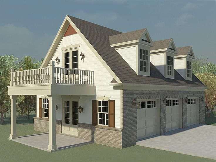 Garage Plans with Flex Space  ThreeCar Garage Plan with Guest Quarters  006G0123 at