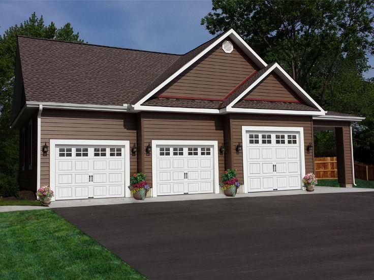 Garage Plans with Carports  ThreeCar Garage Plan with Carport 009G0005 at www