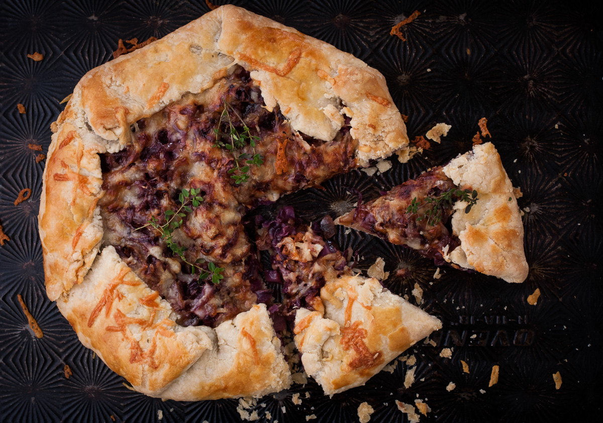 Red Cabbage and Red Onion Galette