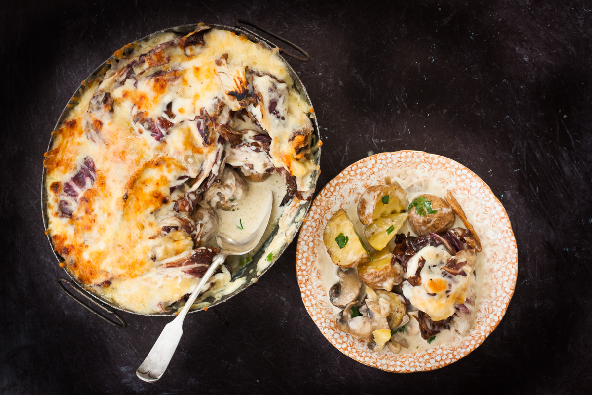 Roasred Radicchio, Mushroom, Potato, and Manchego Cheese Gratin
