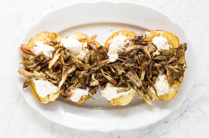 Stuffed Baked Potatoes with Maiitake Mushrooms, Caramelized Shallots, and Sour Cream