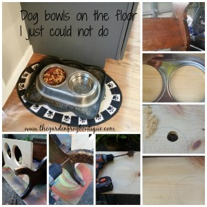 Transform an old wooden magazine rack in to a pet food center, dog food bowls, dog food station