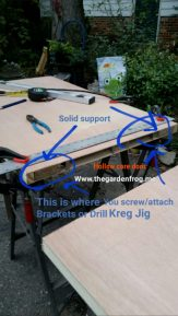 Hollow core doors usually have wood support on outside edges. this is where you want to attach your L-shaped brackets or use the Kreg Jig to attach the leg to the underside