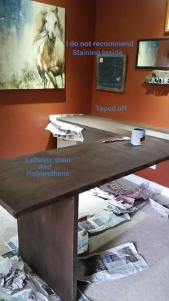 It was rainy and chilly so staining and poly had to be applied inside over a 5 day period. 1 day between coats