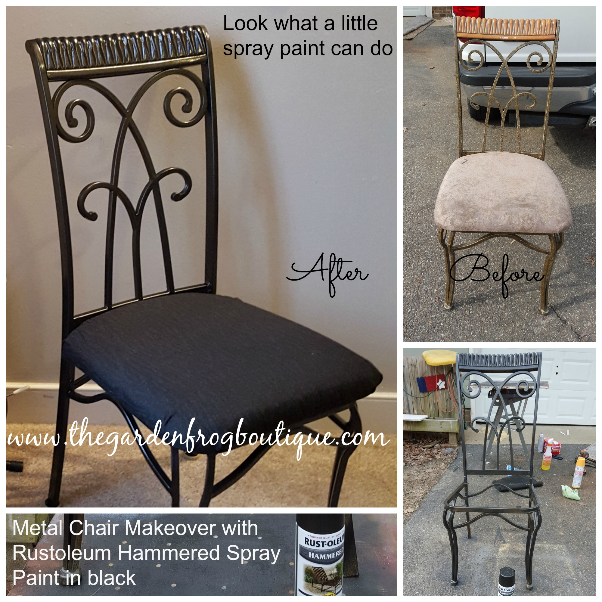 Delicieux Metal Chair Makeover With Rustoleum Hammered Spray Paint   The Garden Frog  Boutique